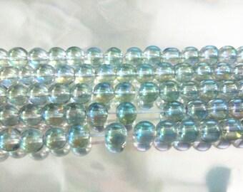 "8mm Round Quartz Crystal Plating Beads 15""l-"