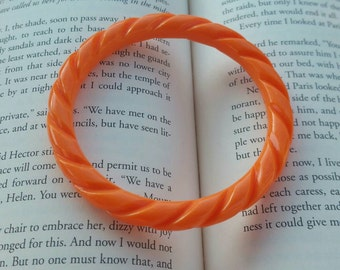 Retro Orange Plastic Bangle Bracelet