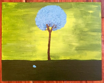 Tree with Fallen Leaf Acrylic Painting