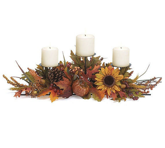 Autumn fall sunflower tier candle holder centerpiece wedding