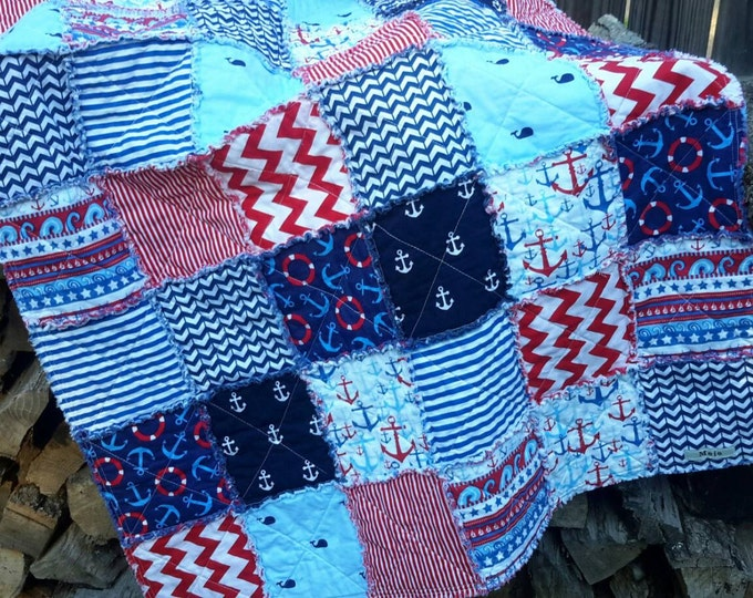 Baby Quilt - Baby Boy - Nautical Patterns and Bright Colors - Navy Blue Red White - Ready to Ship Anchors Sailing Chevrons Stripes