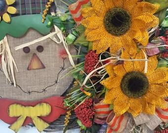 Round Scarecrow Autumn Fall Grapevine Wreath