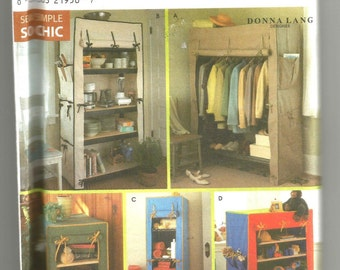 8255 Simplicity Sewing Pattern Storage Unit Covers for Framed Shelves UNCUT
