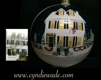 Custom Painted House Ornament Home on Christmas Ball House Warming Realtor Closing Gift First Home Ornament