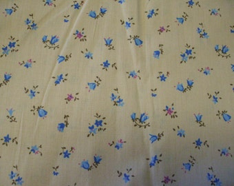 Tan and Blue Calico Fabric, Cotton Fabric Yardage, Sewing Fabric, Floral Fabric, Quilting Fabric, Woven Fabric, Destash  Fabric,