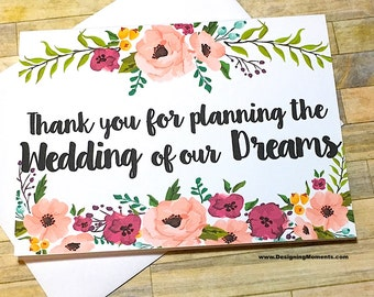 Wedding Planner Thank You - Thank You For Planning the Wedding of Our Dreams,Event Coordinator Thank You Card, Wedding Planner Card