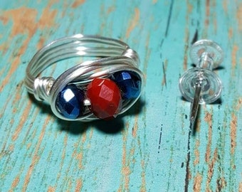 NAVY MOM - Red and Blue Ring, Wire Wrapped Ring, Red Wire Ring, Patriotic Rings,Silver Rings, Navy Mom Ring