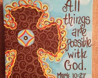 """Handpainted cross canvas, 4"""" x 4"""" or 6"""" x 6""""  bible verse, christian art, inspirational art"""