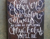 reserved for MARILYS love you forever, like you for always...CUSTOM hand-painted wooden wall-mountable SIGN