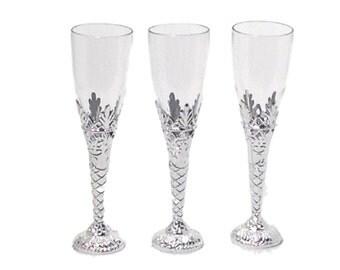"12 Clear Plastic Elegant Bottom Champagne Flutes 8"" tall drinking glasses 4 oz"