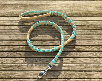 Dog Leash Handmade - Turkoise and Beige colors