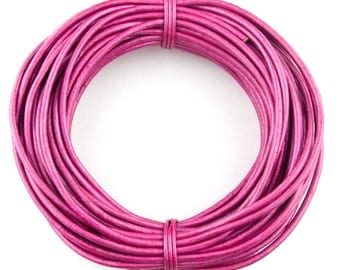 Pink Metallic Round Leather Cord 1.5mm 10 meters (11 yards)