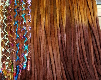Wool Dreadlocks Custom Wool Dreads Handmade Hippie Dreads Hair Extensions Wool Dreads Ombre Hair Accessories Set of 70