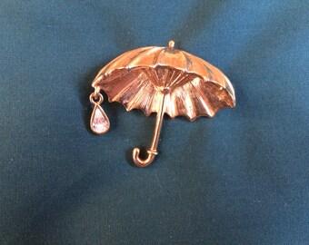 Umbrella Brooch, Rhinestone Rain Drop, Gold Tone, Vintage Danecraft, Gift Idea