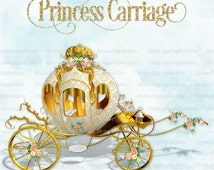 White & Gold Princess Carriage Trimmed with Roses Ribbons Bows | Clipart Instant Download