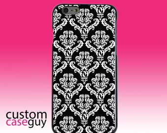 Hard Snap-On Case for Apple 5 5S SE 6 6S 7 Plus - CUSTOM Monogram - Any Colors - Black White Damask Pattern