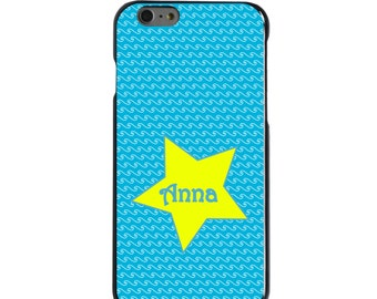 Hard Snap-On Case for Apple 5 5S SE 6 6S 7 Plus - CUSTOM Monogram - Any Colors - Blue White Waves Yellow Star