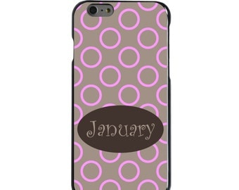 Hard Snap-On Case for Apple 5 5S SE 6 6S 7 Plus - CUSTOM Monogram - Any Colors - Pink Brown Circle Dots