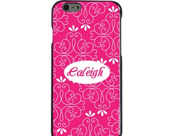 Hard Snap-On Case for Apple 5 5S SE 6 6S 7 Plus - CUSTOM Monogram - Any Colors - Neon Pink White Floral Name
