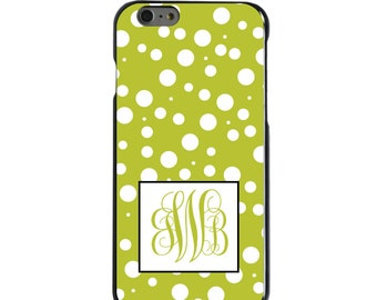 Hard Snap-On Case for Apple 5 5S SE 6 6S 7 Plus - CUSTOM Monogram - Any Colors - Yellow White Dots Yellow Initials