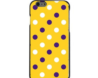 Hard Snap-On Case for Apple 5 5S SE 6 6S 7 Plus - CUSTOM Monogram - Any Colors - Louisiana State LSU Tigers Colors - Polka Dots Pattern