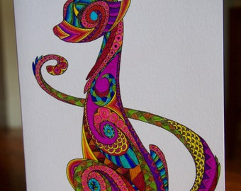 Coloured Cat / Blank Card