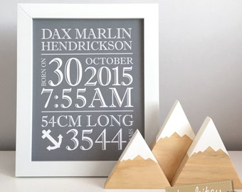 Newborn Baby Gift, Birth print with Wooden Mountains Gift Set, Baby birth stats print, home decor, nursery decor, kids decor, nursery art