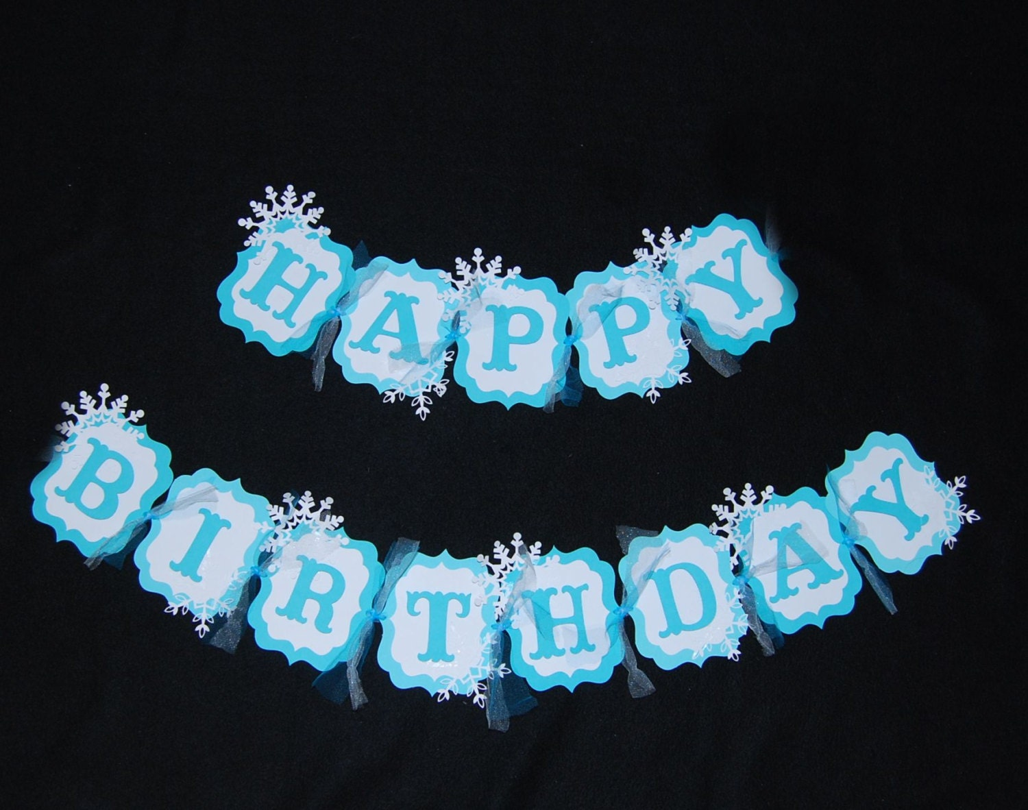 frozen themed snowflake happy birthday banner  snowflakes  blue