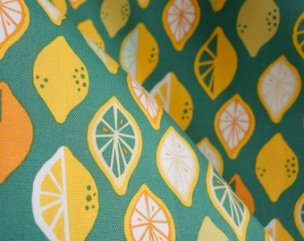 Lemon Lime Canvas Fabric - Monaluna Organics - Juicy Canvas Collection - Organic Lightweight Cotton Canvas - HALF YD