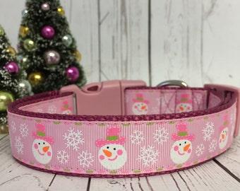 Pink Snowman Glitter Winter Dog Collar