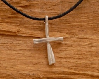 15%OFF-Ships on Sept15 Rustic Cross Pendant Necklace for Men in Sterling Silver ST676mat.