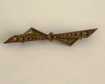 Antique Bar Pin. Victorian Bar Brooch. 1800s Brass Brooch. C Clasp.