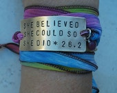 Marathon Bracelet, Running Gift, She Believed She Could So She Did Bracelet, Personalized Silk Ribbon Marathon Jewelry