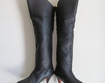 SALE Retro 80s Knee High Boots // LJ Simone Black Leather Boots