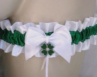 White , Green , Shamrock , Satin , Irish , Wedding , Garter , Bride , Bridal , Hen , Bachelorette , Lingerie , UK