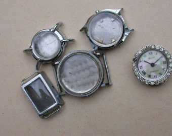 4 Pcs French vintage silver stainless steel twist watch frame pendant bracelet design charms bombe glass