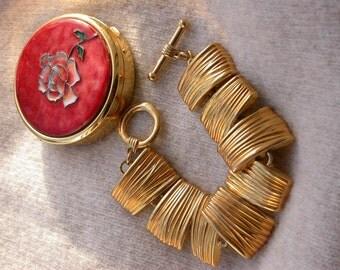 2pcs French Vintage yellow gold plated large bracelet red enamel flower pill box France Limoge enamel box