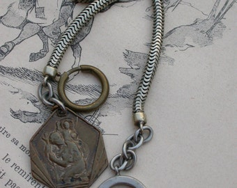 French antique 19 century pocket watch chain Solid bronze large snake old watch chain timepiece antique religious medal St christoph