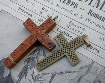 2pcs French antique religious cross crucifis cross ornate hand carved wooden cross soild bronze filigree cross reliquary