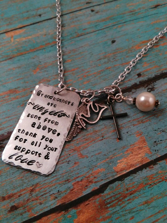 Grandmother necklace long necklace charms metal stamped for Grandmother jewelry you can add to