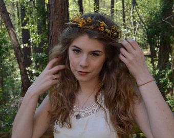 Dried Floral headband flower crown Sunflowers wheat twigs CWERKY handmade EDC Coachella fast shipping