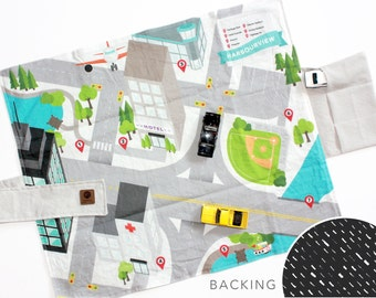 Travel Play Mat - Downtown City Car Mat | Black Chalk Stroke Backing | Folding Car Mat | Kids Travel Activity | Play Car Mat