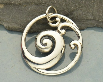 Sterling Silver Openwork Wave Pendant-Ocean-Sea-Beach
