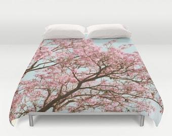 Cherry Blossom Duvet, Pink Tree Duvet, Mint Blue Duvet, Romantic Bedding, Nature Duvet, Tree Duvet Cover, Cottage Chic Duvet, Shabby Chic