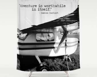 Airplane Shower, Plane Shower Curtain, Black White Bathroom, Amelia Earhart  Quote, Love
