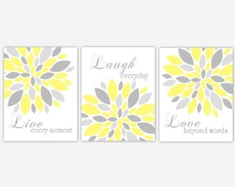 Live Laugh Love Wall Art Quote Yellow Gray Flower Burst Modern Girl Bedroom Floral Home Decor Dahlia Modern Flower Prints Girls Bed Prints