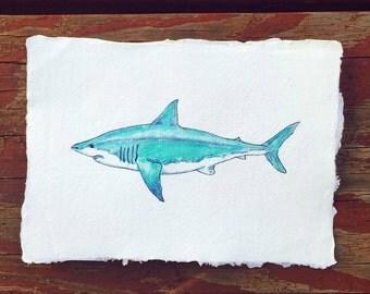 Shark, original watercolor painting, turquoise shark, wall art, ocean art, shark illustration, nursery decor, watercolor and ink, animal art