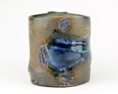 Stoneware mug, Charcoal black matte glaze with blue soft glass and seashells, Cone 6 oxidation