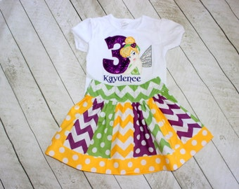 Tinkerbell birthday outfit Tinkerbell skirt set purple green yellow tinkerbelle shirt with matching chevron polka dot skirt Fairy birthday