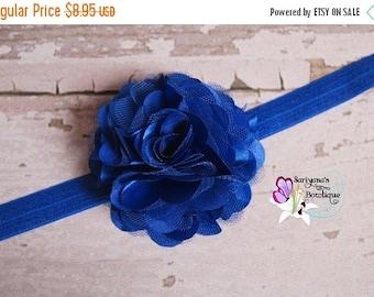 SALE CIJ Royal Blue Satin Tulle Puff Flower Headband Clip, Flower Girl, Christmas, Holiday, Wedding, Baby Girl Toddler Woman - SB-014Rb